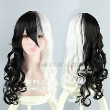 Fashion Woman's Sexy Black White Half Cosplay Wig Long Wave Curly Full Hair Wigs