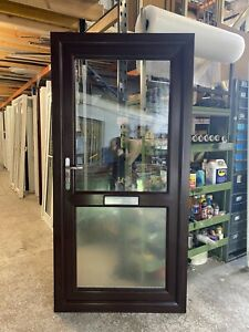 SECOND HAND UPVC DOOR ROSEWOOD ON WHITE, 990mm Wide By 2020mm Height (D151)