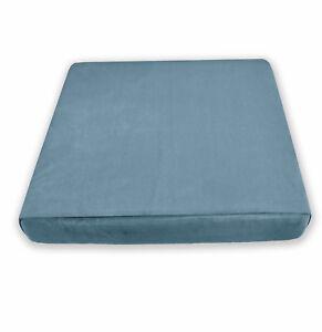 Mf60t Light Ash  Blue Microfiber Velvet 3D Box Seat Cushion Cover Custom size