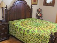 Green Peacock Tail Fan Bedding - Cotton Print Bed Sheet Ethnic Tapestry ~ Full