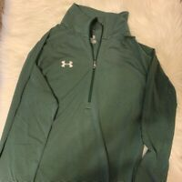 Under Armour Heat Gear Mens Sweatshirt Green Black Striped 1/4 Zip Loose Fit M