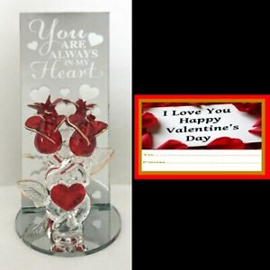 GLASS ROSES ALWAYS IN MY HEART MIRRORED PLAQUE GIFT HAPPY VALENTINES DAY LOVE I