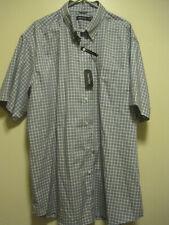 NWT Nautica Men SZ 2XL BLUEDEPTHS PLAID Short Sleeve WRINKLE RESISTANT Shirt