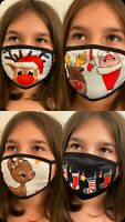 CHRISTMAS HOLIDAY FACE MASK SANTA CLAUSE, RUDOLPH, GIRL REINDEER, STOCKINGS