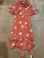 Ava Viv Womens Plus Size Dress Coral Floral Size 1X New NWT Belted No Gap Button