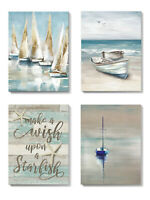 Sailboat Wall Art Blue Ocean Beach Canvas Prints Bathroom Bedroom Decor 12X16