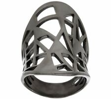 BRONZO ITALIA BLACK BRONZE CONCAVE OVAL GEOMETRIC CUT-OUT BAND RING SIZE 5 QVC