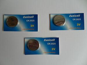 3 X New Eunicell Batteries CR2025