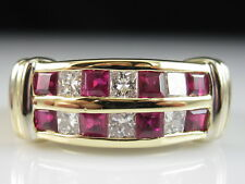 18K Ruby Diamond Ring Band Yellow Gold Square Princess Channel Set Red Size 8
