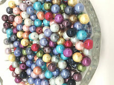 100 8mm Mixed Job Lots Glass Pearl Beads for Jewellery Making