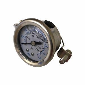 """Pressure Gauge for Reverse Osmosis RO Unit / HMA Filter Aquarium with 1/4"""" Pipe"""