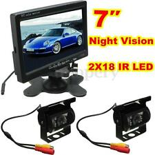 "CAR REAR VIEW KIT for Bus Truck 7"" LCD MONITOR + 2xIR REVERSING CAMERA 18LED 12V"