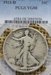 1921-D 50C PCGS VG08 Walking Liberty Half Dollar - Key Date
