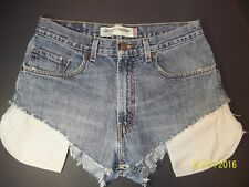 "Levi's 569 Loose Straight Womens 31"" Blue Distressed Frayed Cheeky Jean Shorts"