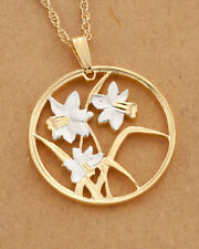 "Flowers(Daffodils) Pendant & Necklace Canada Coin Hand Cut, 1""diameter ( # 796 )"