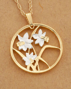 """Flowers(Daffodils) Pendant & Necklace Canada Coin Hand Cut, 1""""diameter ( # 796 )"""