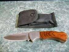 Lockback Work Knife With Dark Wood Handle And Sheath That Will Go On Your Belt