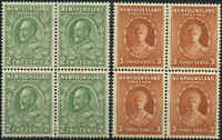Mint H/NH Canada Newfoundland 1932-37 Block 4 2c/3c F-VF Scott #186/187 Stamps