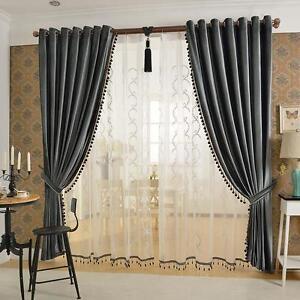 Luxury European Style-Velvet-Curtains Brown /Gray/ Light Beige/ Green.(Set of 2)