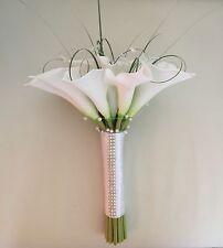 ARTIFICIAL WHITE CALLA LILY WEDDING BRIDE BOUQUET FLOWERS DIAMANTE PEARL SPARKLY