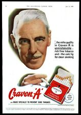 1948 Craven A cigarette smoking man photo UK vintage print ad