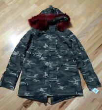 NWT Madden NYC Juniors' Red Faux-Fur Camo Anorak Jacket Parka Size M