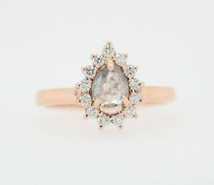 Salt and Pepper Pear Cut 14K Rose Gold Ring for Engagement or Wedding