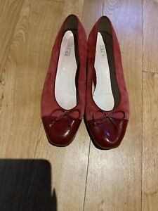 Ladies Ara Red Suede Slip On Shoes Size 5F