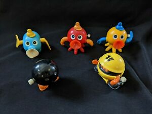 Vintage Lot of 5 Tomy Wind Up Toys Pac-Man Monsters Etc