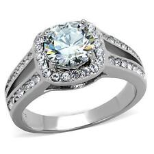 2.95 Ct Halo Round Cut CZ Stainless Steel Engagement Halo Ring Women's Size 5-10