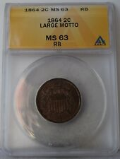 "1864 ""Large Motto"" Two-Cent Piece ""ANACS MS63 RB"" *Free S/H After 1st Item*"