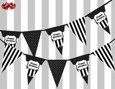 Chic Black Happy Birthday Sign Vintage Polka Dots Theme Bunting Banner Party UK