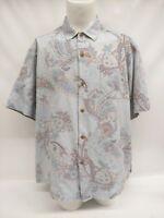 Tommy Bahama Blue Paisley Floral Hawaiian 100% Silk Short Sleeve Shirt Mens XL