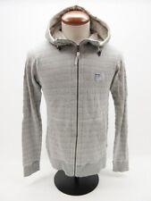 Bench UrbanWear Gray White Print Long Sleeve Zip Front Hoodie Sweatshirt M