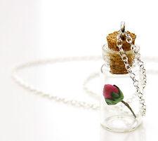 La Bella Y La Bestia embotellado Rose Collar Regalo Hecho a Mano Colgante Flor vial