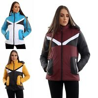 Womens Contrast Fancy Quilted Padded Puffer Warm Thick Jacket Ladies Winter Coat