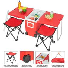 Red Multi Function Rolling Cooler Picnic Camping Outdoor w/ Table & 2 Chairs
