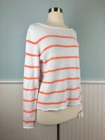 Size Small S EILEEN FISHER White 100% Linen Striped Sweater Top Shirt Blouse
