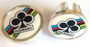 2 Caps Hanger Handlebar COLNAGO White/Black New (BAR End Plugs)