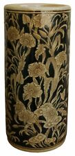 Ceramic Umbrella Stand Brolly Stick Holder Storage Emboss Regal Design Navy Gold