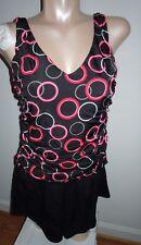 New Rodan Swimwear 14W Slimming 1-Pc Swimsuit w/UW Bra red/pinks/black jogger