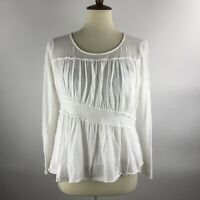 Sundance Women's Top Size M White Long Sleeve Gauze Boho Shirt Peasant Lined
