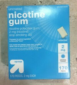 Up & Up Uncoated Nicotine Gum [2MG Original Flavor] Stop Smoking Aid 170 Count