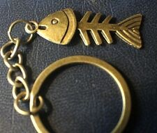 FISH BONE Big Head Bronze color Keychain Key Chain Fishing lightweight Gift USA