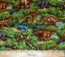 DINOSAUR FABRIC! 1/2 Yard For Quilting! Raptor - Stegosaurus - Tyrannosaurus Rex