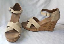 Toms SIERRA Women's 8.5 Beige Cork Ankle Strap Platform Wedge Sandals
