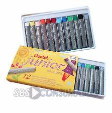 Pentel junior pastels à l'huile. pack de 12 couleurs vives art pastels. free p&p pjhn 12
