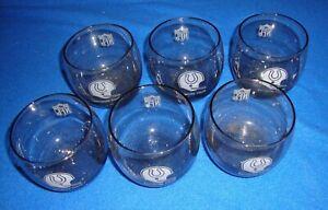 6 Vintage 1970's NFL Rocks Glasses Smoked Baltimore Colts