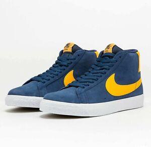 Nike SB Zoom Blazer Mid Navy University Gold 864349-402 Skate Shoes Sneakers
