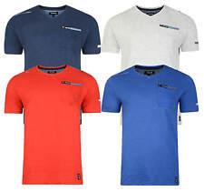 Firetrap Fashion T-shirt New Mens Adversane Plain Vee Neck Casual Cotton Tee